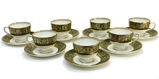 7 Wedgwood Porcelain Cup & Saucers in Green Florentine