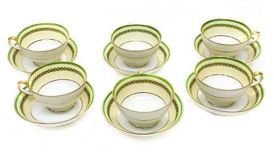 6 C Ahrenfeldt Limoges Porcelain Cup Saucers in Empire