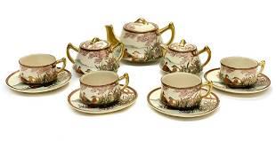 Japanese Satsuma Hand Painted Porcelain Tea Set Set