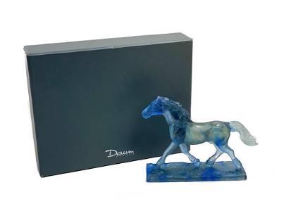 Daum Pate De Verre Trotteur Horse Figurine in Bleu