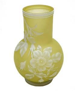 Thomas Webb Cameo Glass White Enamel Vase