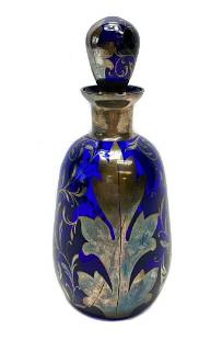 Blue American Silver Overlay Decanter c1930