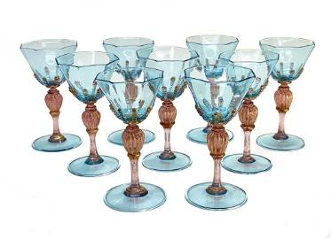 9 Salviati Cranberry Red & Blue Threaded Art Glass Red