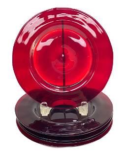 6 Steuben Cranberry Red Art Glass Dessert Plates