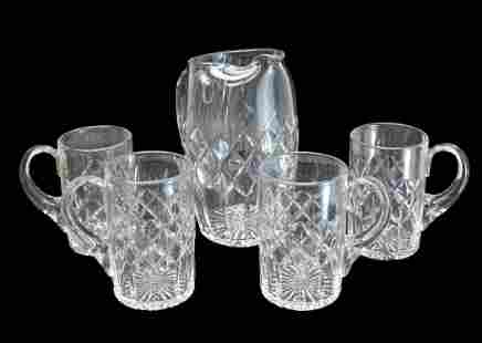 5pc Cartier Cased Crystal Beer Water Pitcher & Mug Set