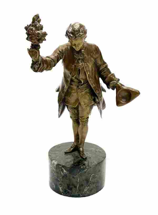Continental Gilt Bronze Figurine- Man Holding Bouquet