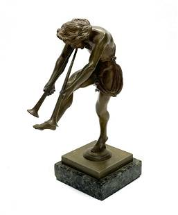 Continental Bronze Figurine- Fawn Playing Instrument