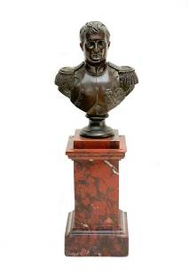 Napoleonic Patinated Bronze Bust Red Sienna Marble Base