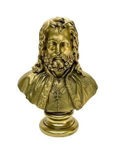 Russian Gilt Bronze Bust Knight Wearing Maltese Cross