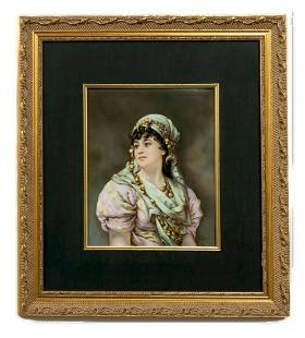 KPM Porcelain Plaque of a Gypsy, 19th C. Signed Wirkner
