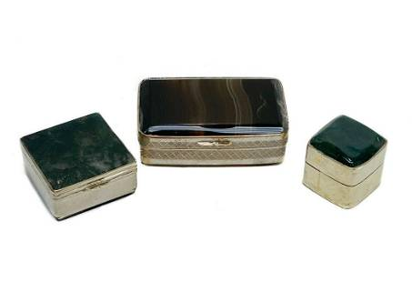3 Agate Silverplate and Gold Plate Mounted Pill Boxes