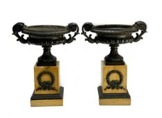 Pair Neoclassical Patinated Bronze Sienna Marble Urns