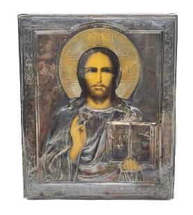 Continental Silver Jesus Icon Plaque.