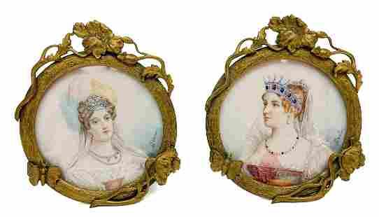 Continental Gilt Bronze Framed Lady Portrait Miniatures