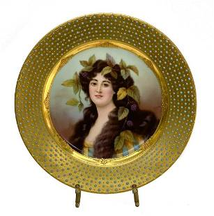 Royal Vienna Austria Porcelain Portrait Plate Signed