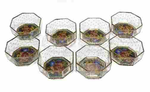 8 MacKenzie Childs Glass Bowls in Circus Garland