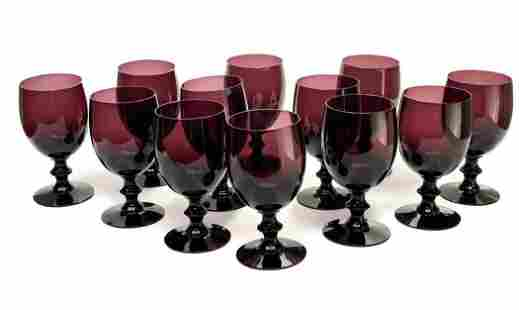 12 Purple Art Glass Red Wine or Water Goblets