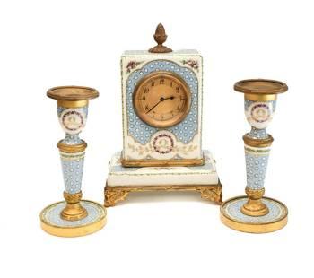 Sevres France Porcelain Clock Mantel Set, circa 1900