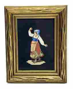 Italian Pietra Dura Stone Plaque Maiden with Musical
