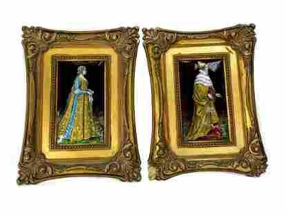 Pair French Portrait Plaques Enamel Gilt Wood c1900