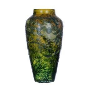 "13.75"" Signed Galle French Cameo Art Glass Vase"