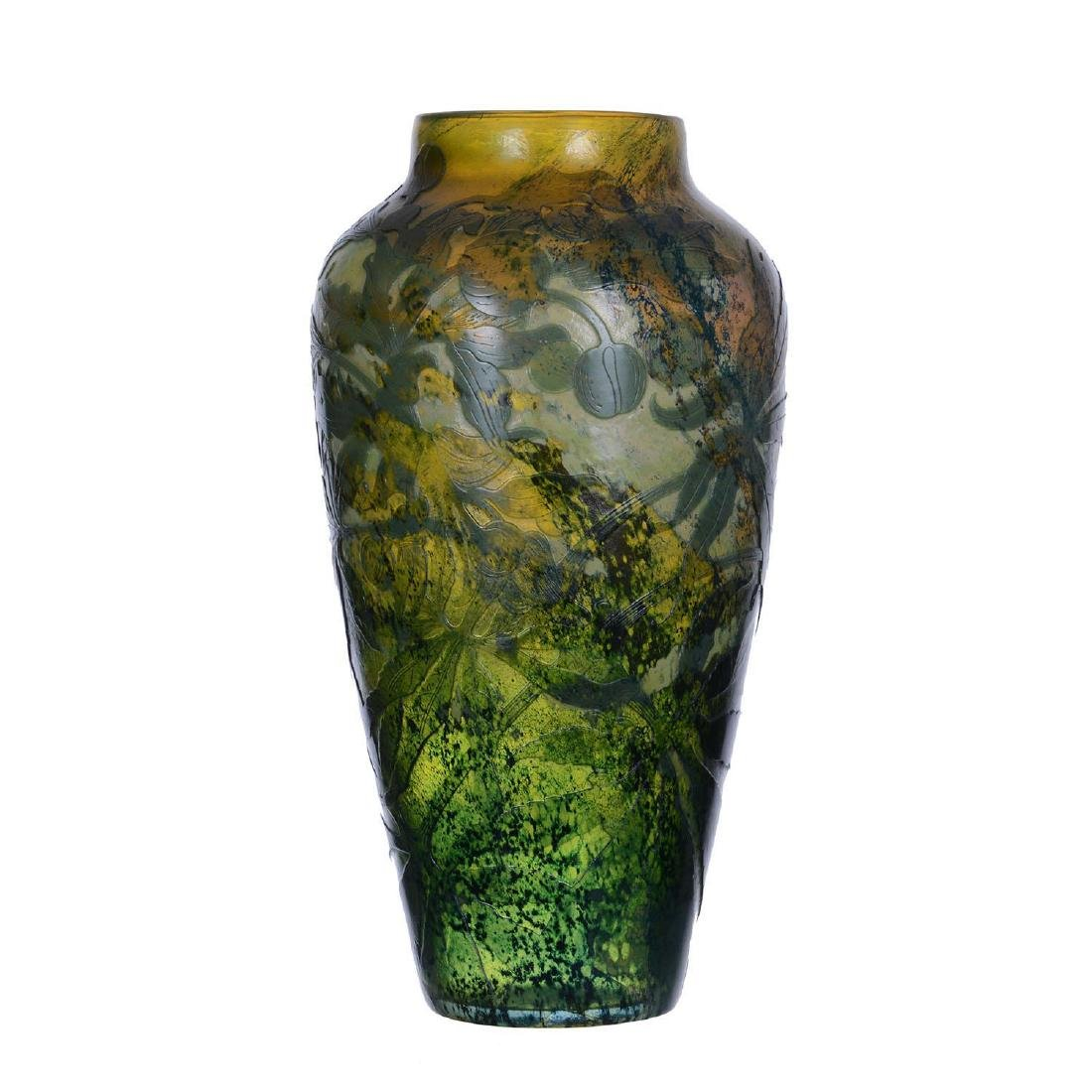 """13.75"""" Signed Galle French Cameo Art Glass Vase"""