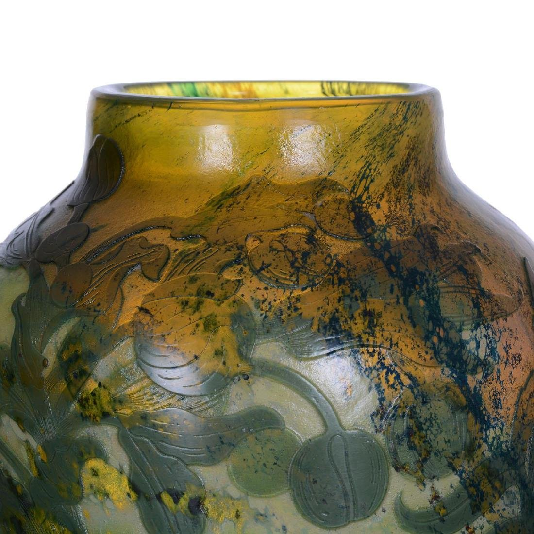 """13.75"""" Signed Galle French Cameo Art Glass Vase - 2"""