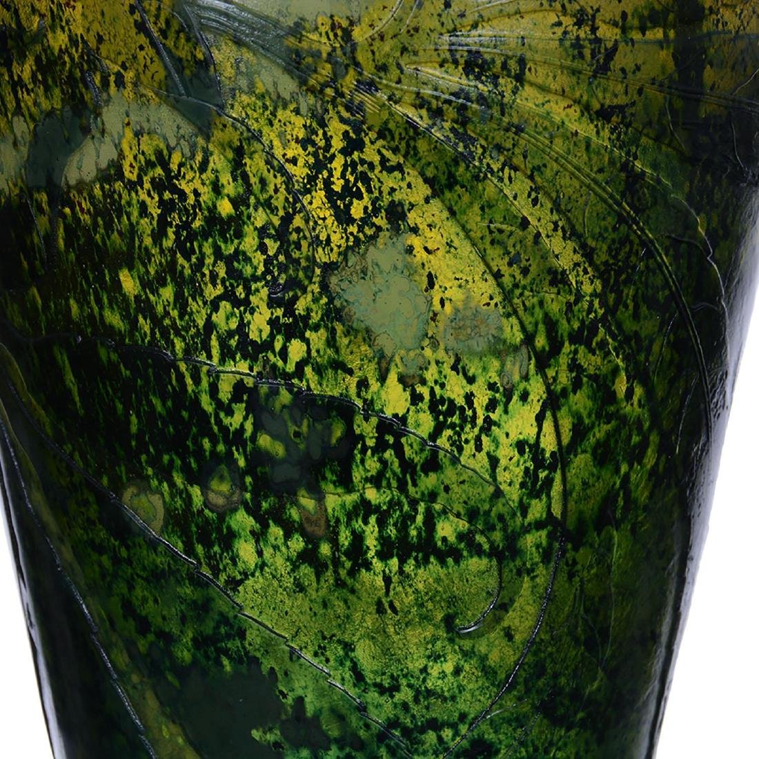 """13.75"""" Signed Galle French Cameo Art Glass Vase - 3"""