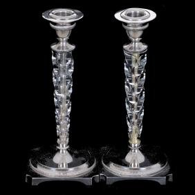 """Pair 9"""" Marked Pairpoint #6137 Candlestick Holders"""