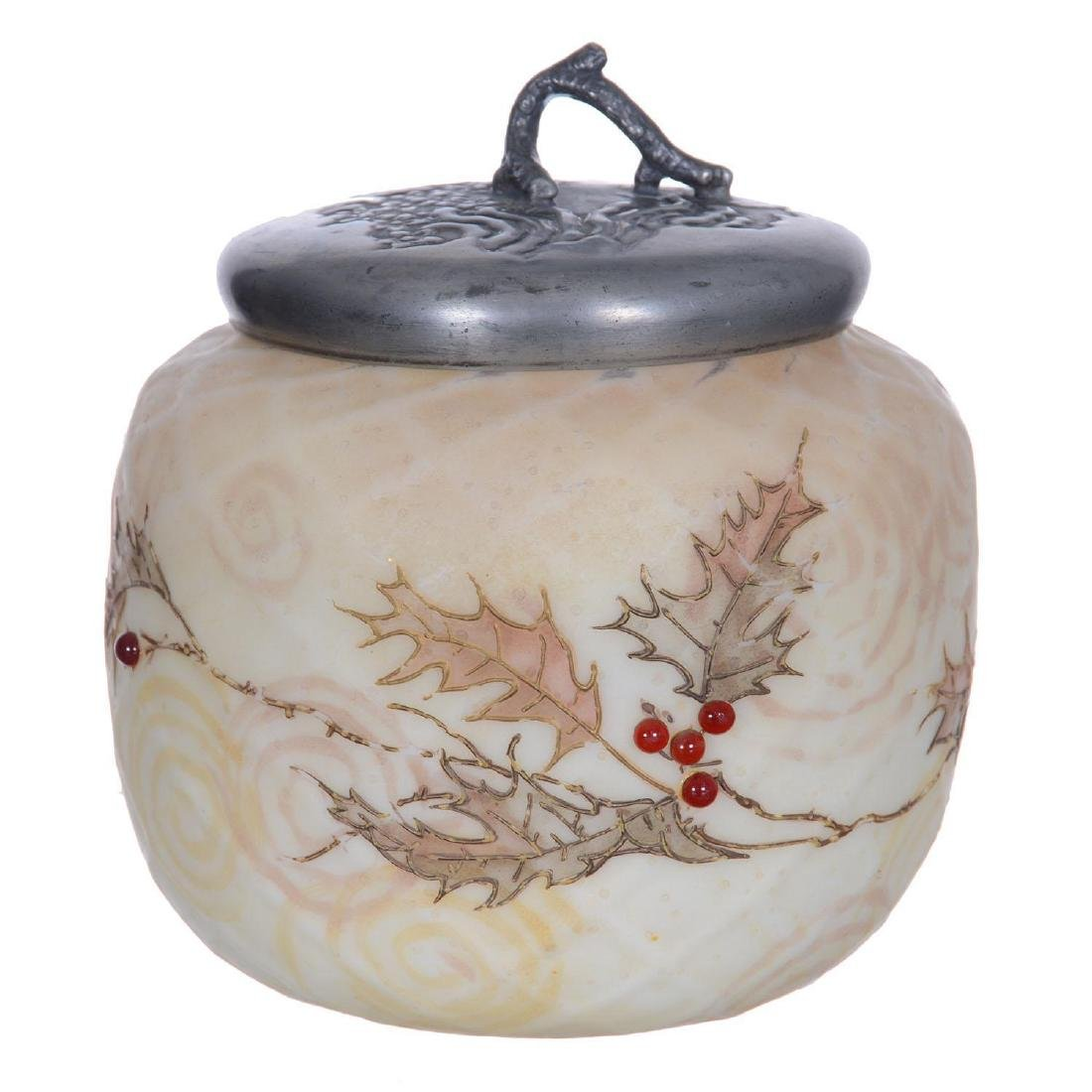 "4.75"" Crown Milano Art Glass Covered Jar"