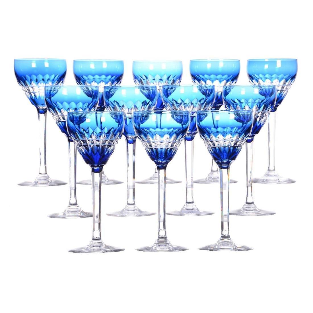 """(12) 7.75"""" Blue Cut To Clear Rhine Wine Glasses"""