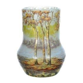 "Wow! 7.5"" Signed Daum Nancy French Cameo Art Glass Vase"