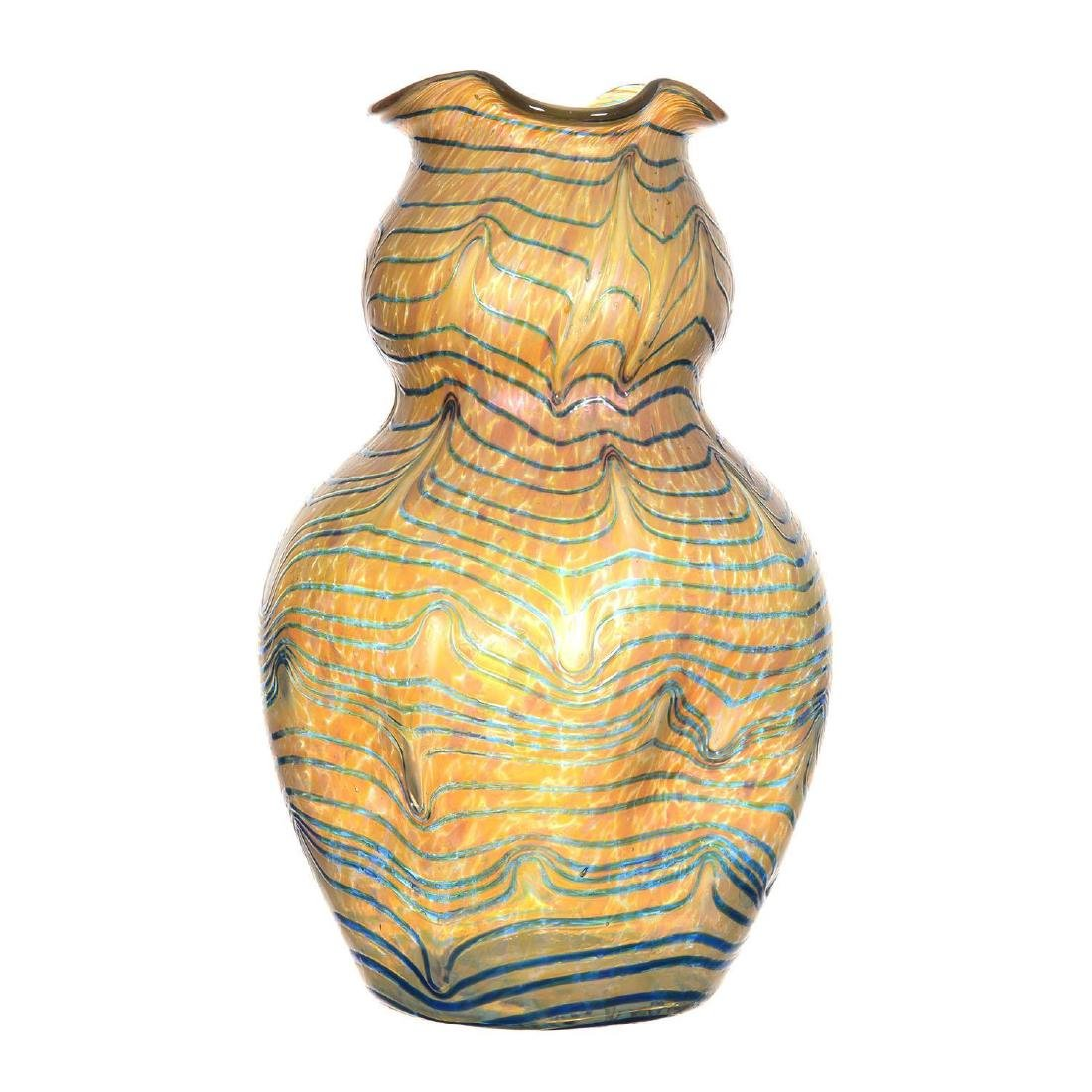 "11.75"" X 7"" Unmarked Kralik Art Glass Vase"