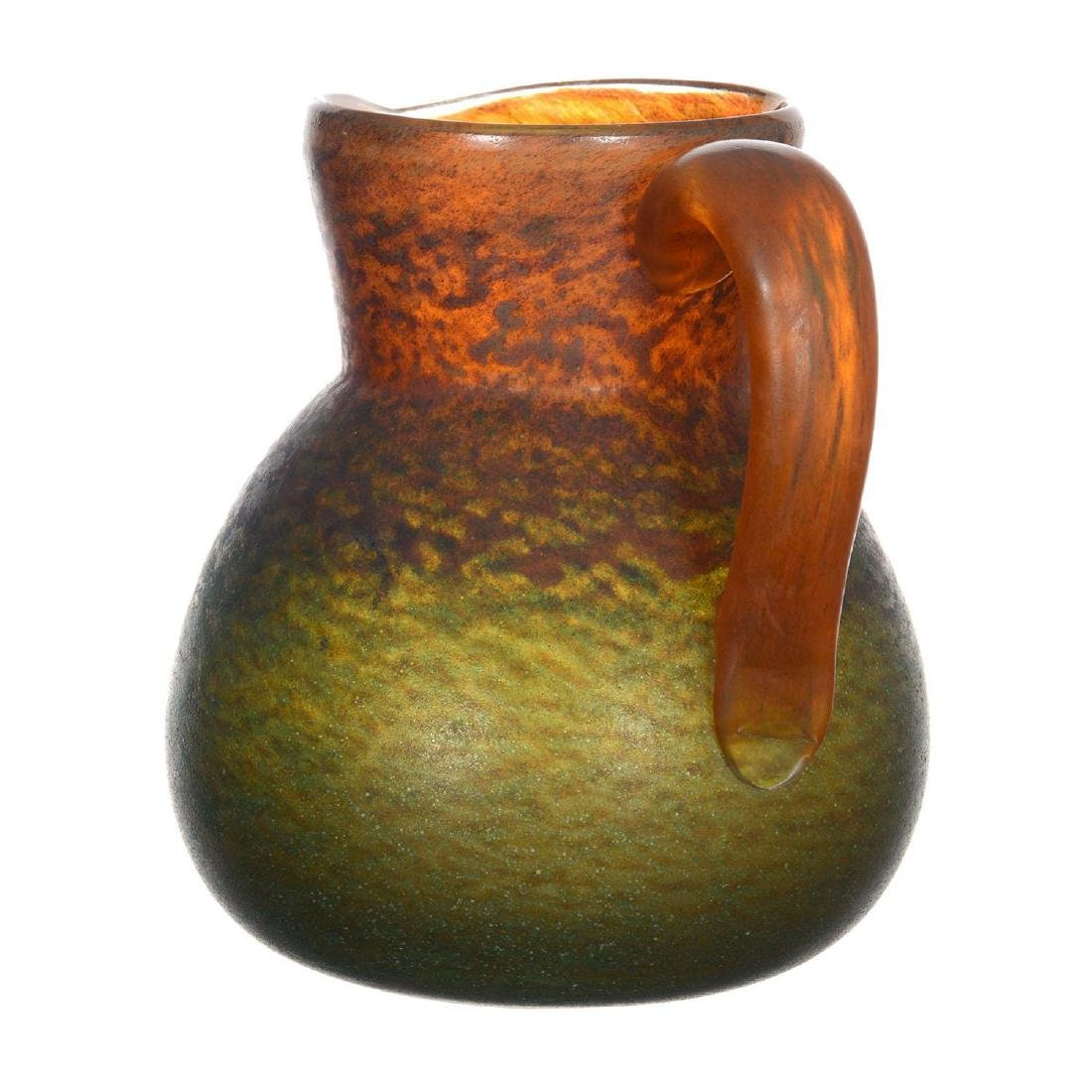 "7.25"" French Art Glass Handled Jug Signed ""Georges De F - 3"