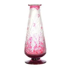 "12"" Signed Delatte Nancy French Cameo Art Glass Vase"