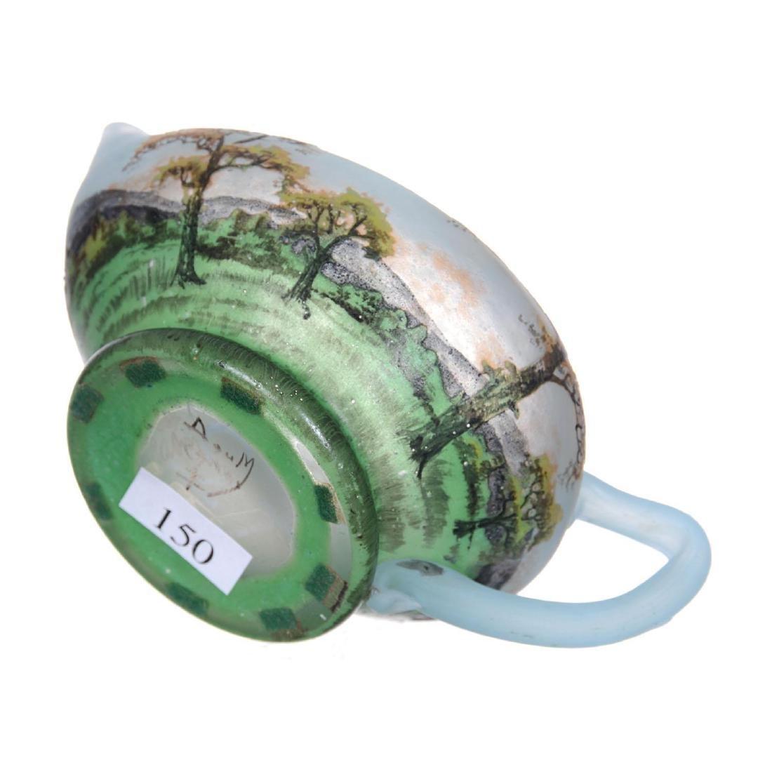 "2.5"" X 5.5"" Signed Daum Nancy French Cameo Art Glass Cr - 5"
