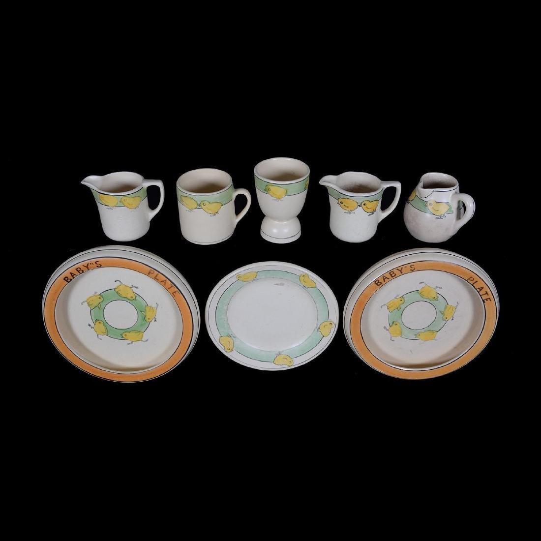 (8) Unmarked Roseville Art Pottery Juvenile Items