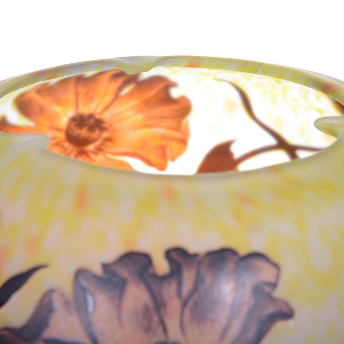 "5.5"" X 9"" Signed Daum Nancy French Cameo Art Glass Bowl - 3"