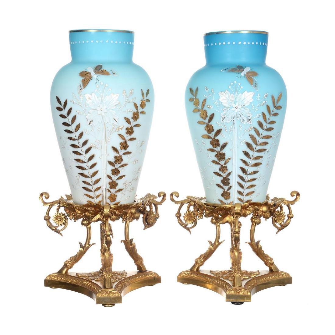 """Pair 15.75"""" Blue Satin Art Glass Vases"""