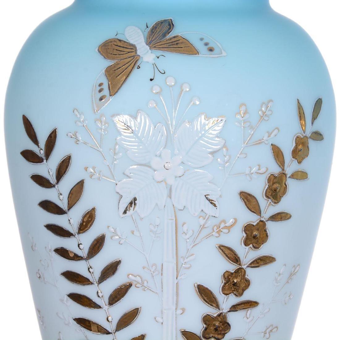 """Pair 15.75"""" Blue Satin Art Glass Vases - 3"""