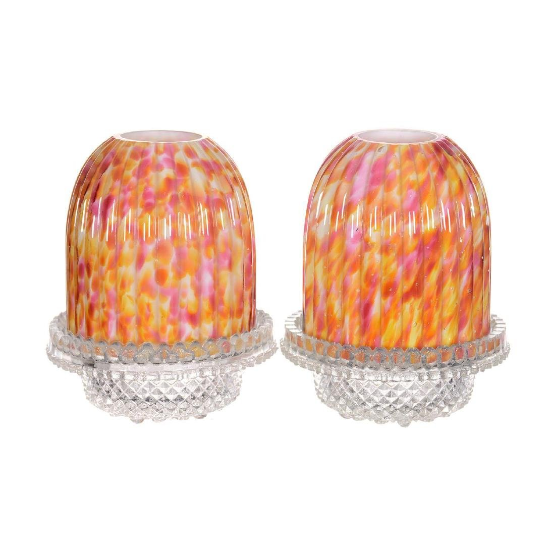 "Pair 5"" Art Glass Fairy Lamps"