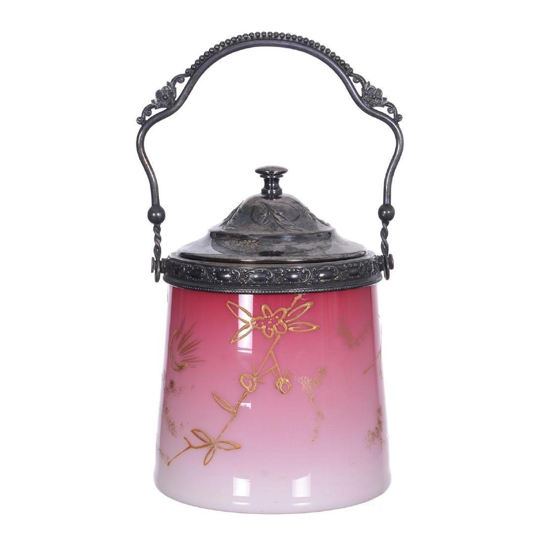 "7"" Cased Peachblow Art Glass Biscuit Jar"