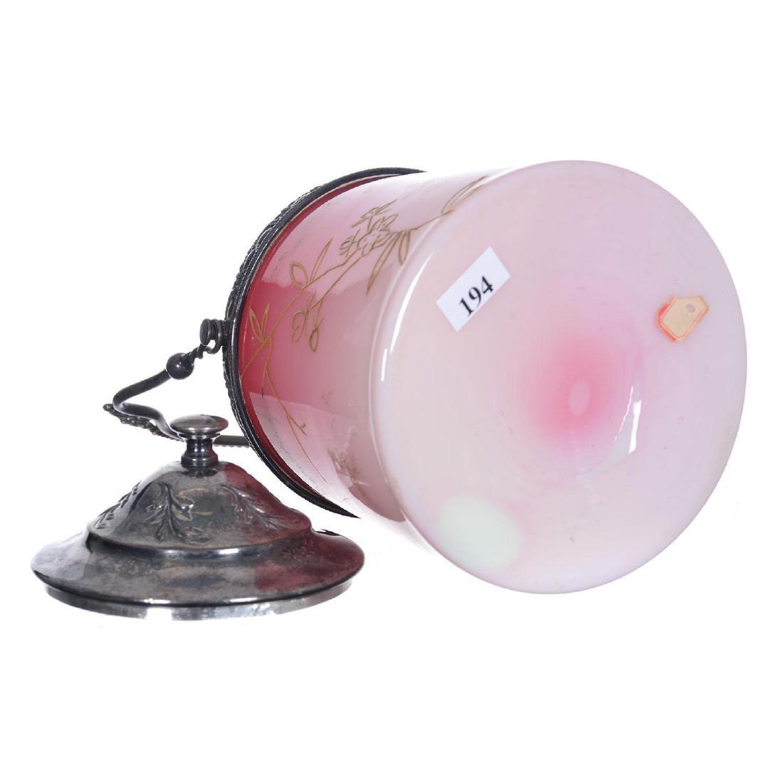 "7"" Cased Peachblow Art Glass Biscuit Jar - 3"