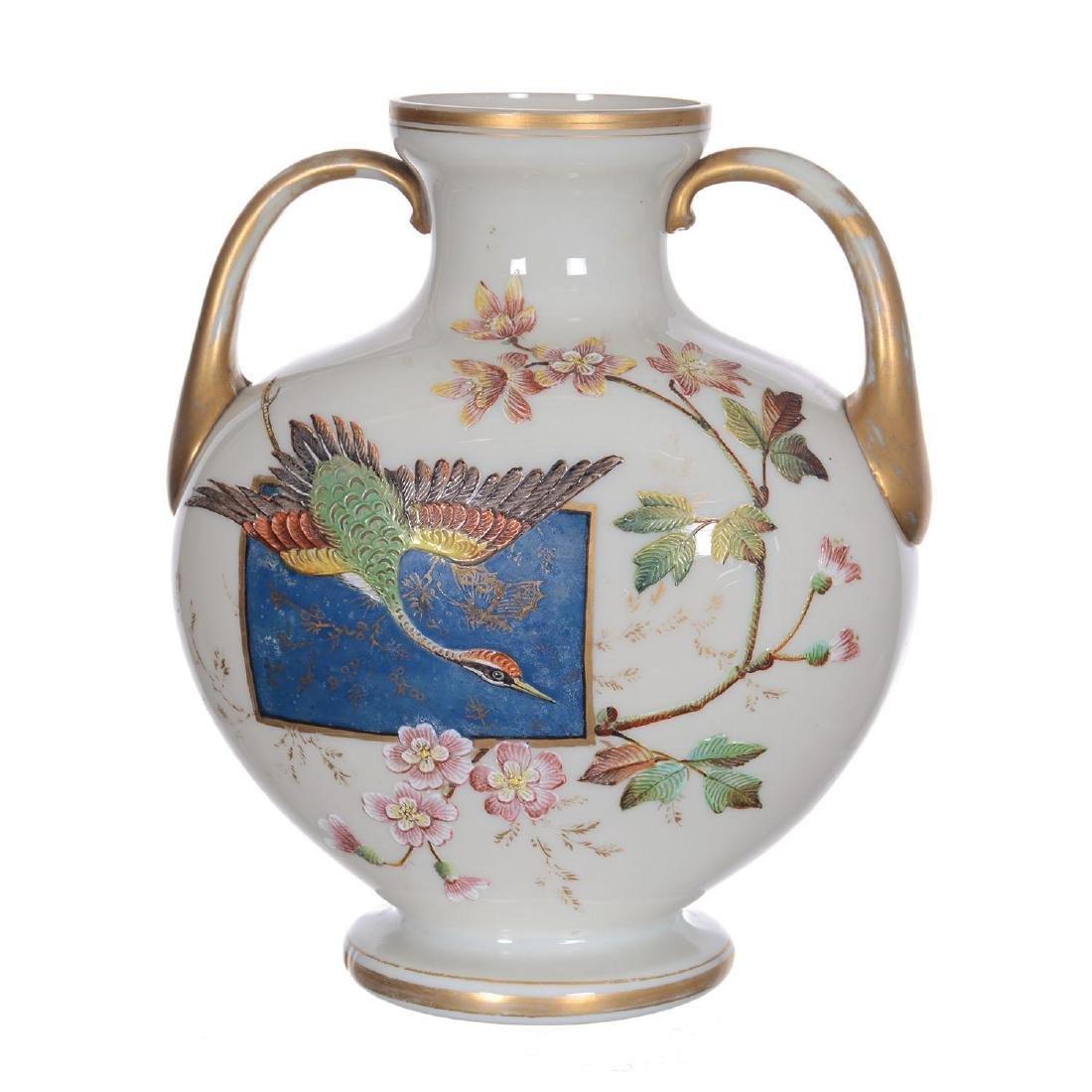 "8"" X 6.75"" Unmarked Webb Art Glass Two-Handled Vase"