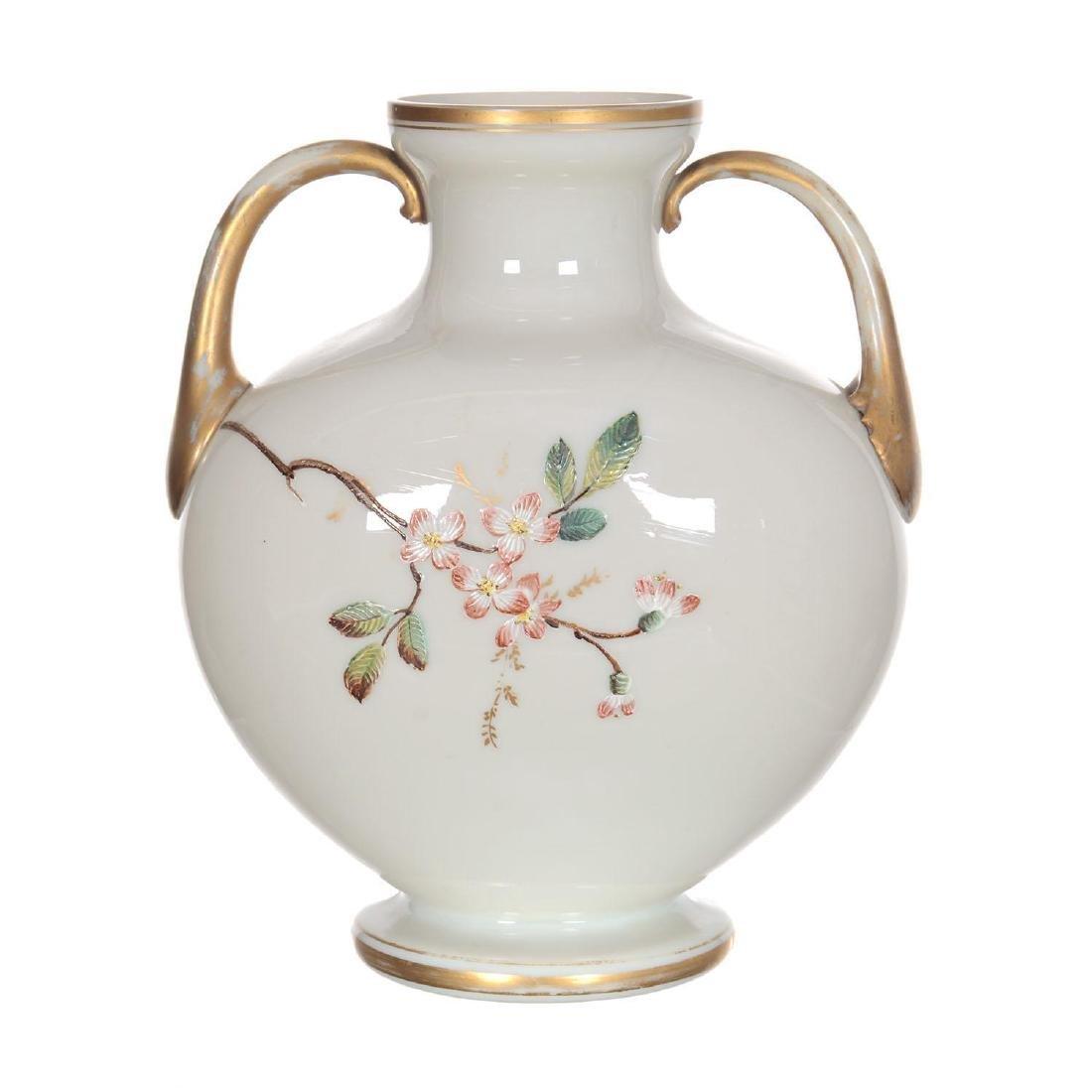 "8"" X 6.75"" Unmarked Webb Art Glass Two-Handled Vase - 2"