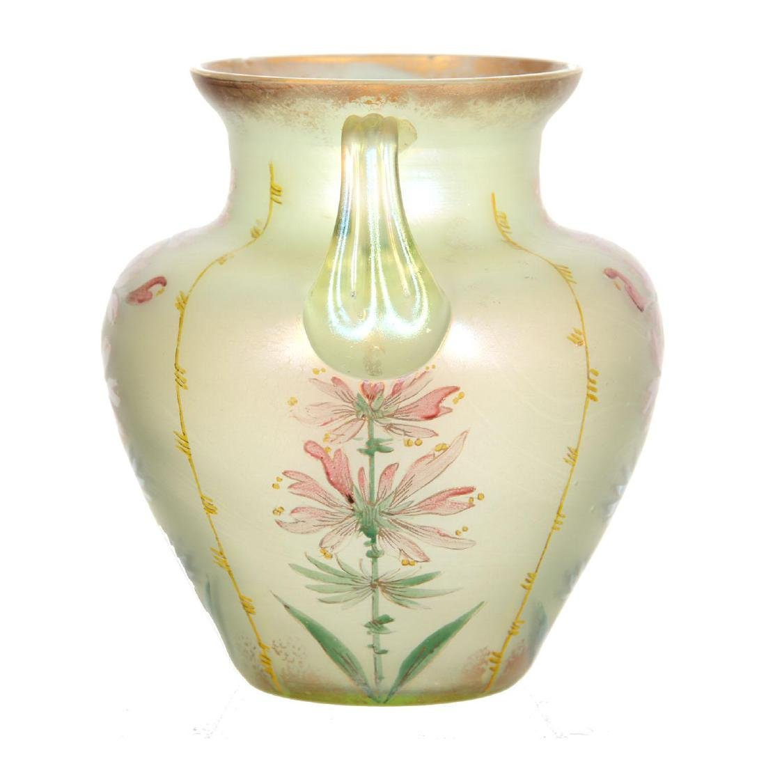 """5"""" Unmarked Iridescent Art Glass Two-Handled Vase By Lo - 2"""