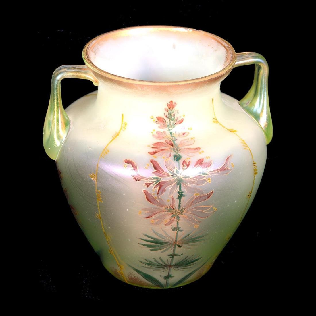 """5"""" Unmarked Iridescent Art Glass Two-Handled Vase By Lo - 4"""