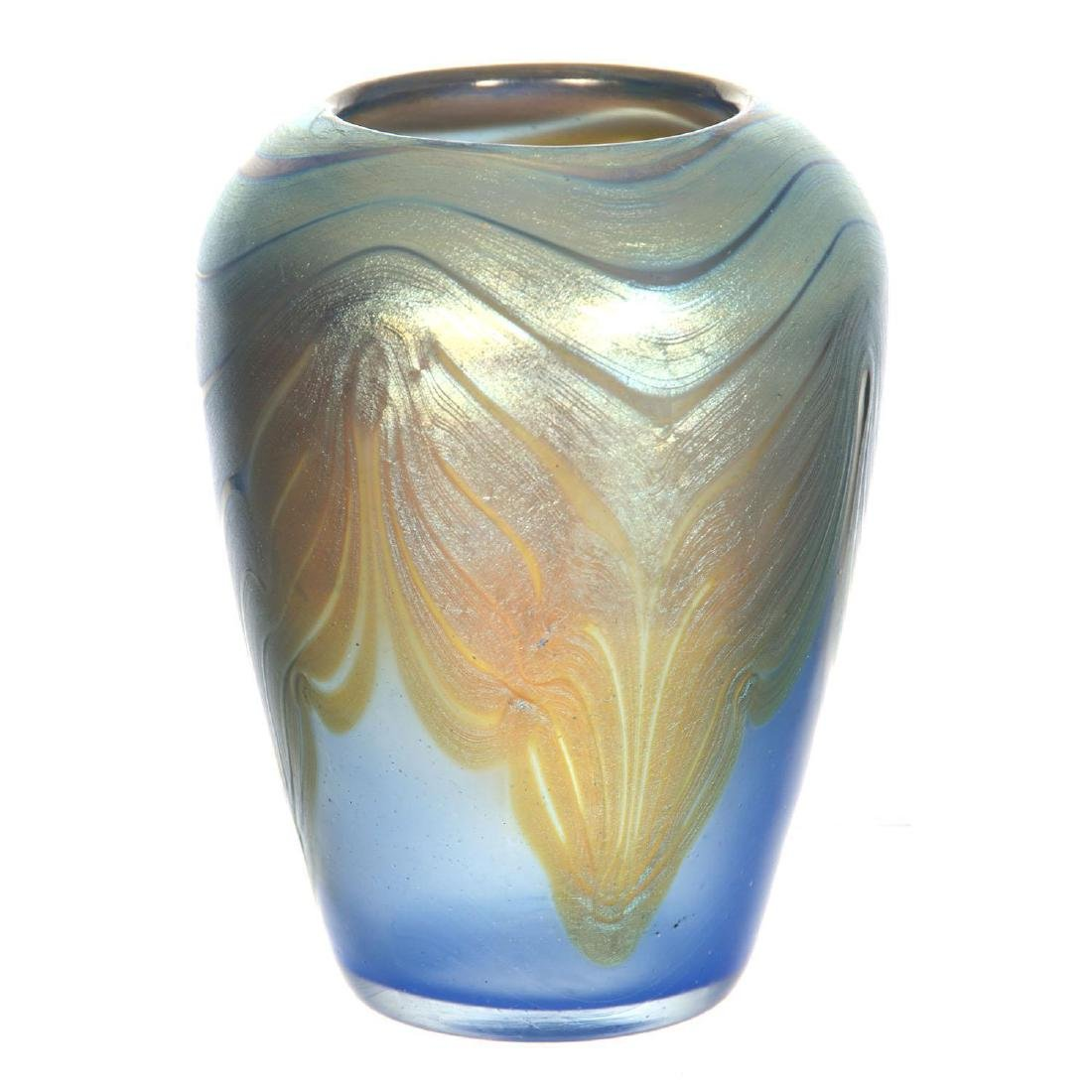 "3.75"" X 2.75"" Signed Loetz Austria Art Glass Vase"