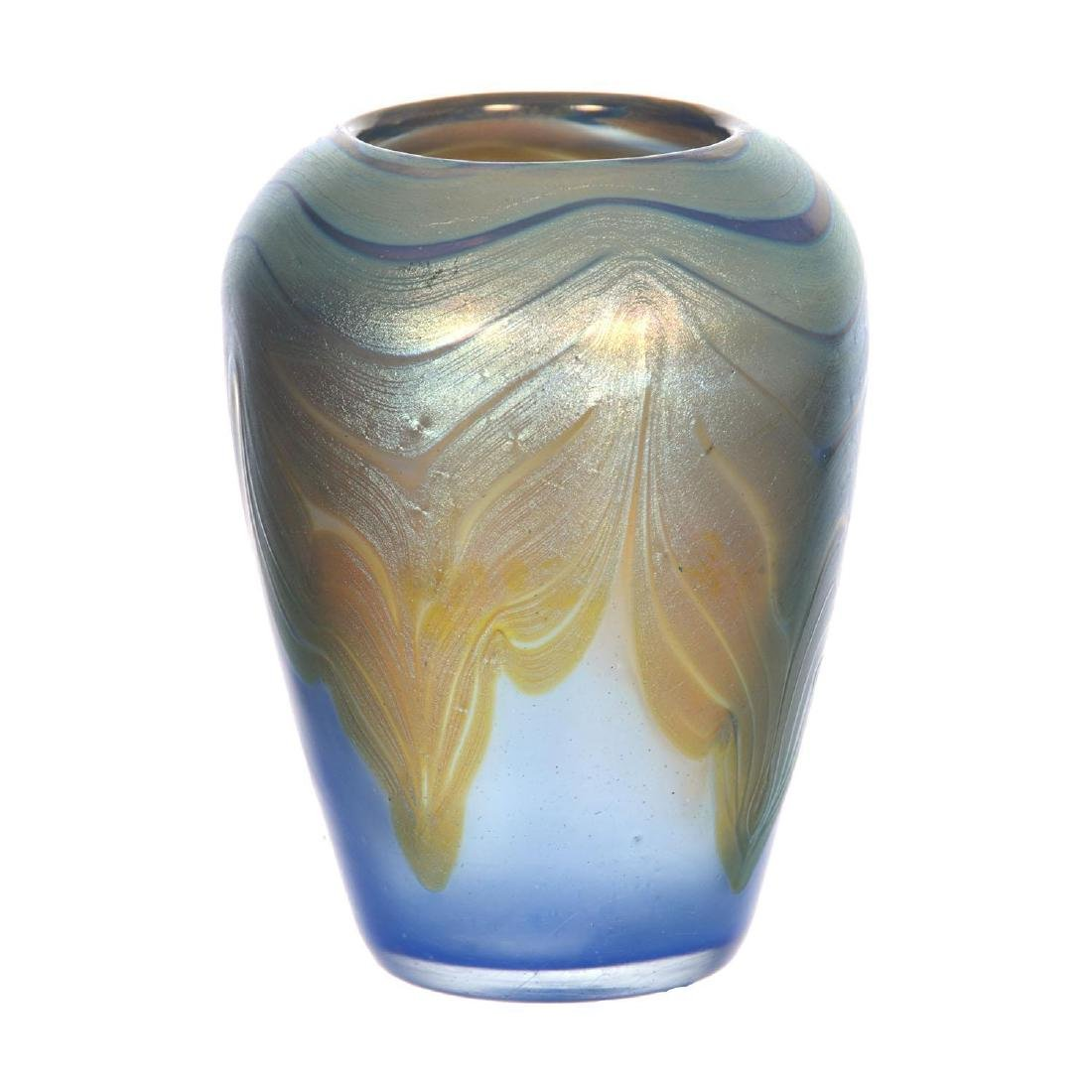 "3.75"" X 2.75"" Signed Loetz Austria Art Glass Vase - 2"