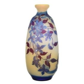 """14"""" Signed Galle French Cameo Art Glass Vase"""